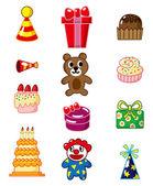 Cartoon birthday icon — Stock Vector