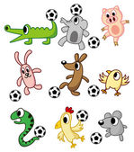 Cartoon animals play soccer — Stock Vector