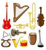 Cartoon musical instruments — Stock Vector