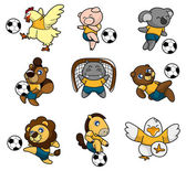 Cartoon animal soccer player icon — Stock Vector
