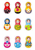 Cartoon Russian dolls — Stock Vector