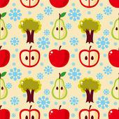 Seamless apple tree pattern — Stock Vector