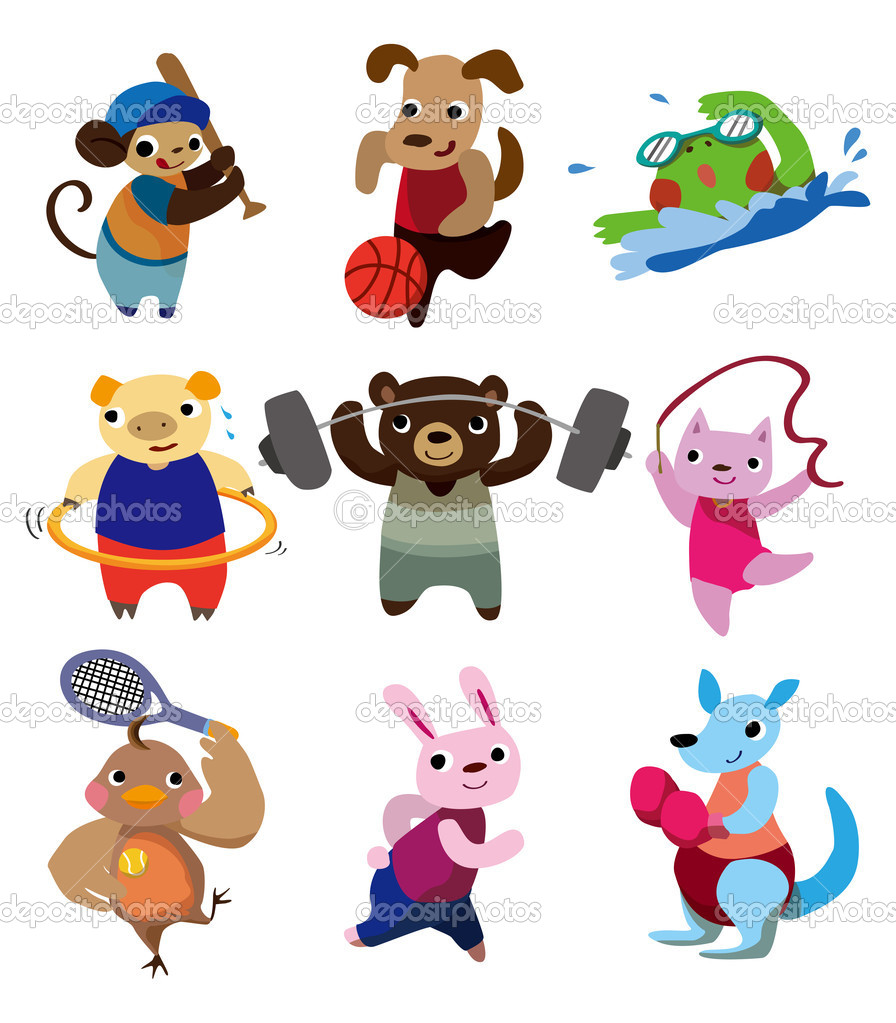 Cartoon animal sport — Stock Vector #8091754
