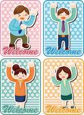 Cartoon happy office workers card — Stock Vector