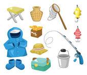 Cartoon Fishing icons — Stock Vector