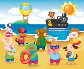 Beach Animal Party — Stock Vector