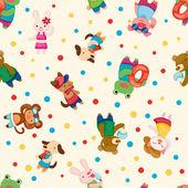 Cartoon summer animal seamless pattern — Stock Vector