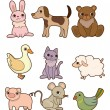 Cartoon animal icon set — Stock Vector #8289742