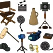 Stock Vector: Cartoon movie equipment icon set