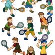 Cartoon Tennis Players icon — Stock Vector #8289852