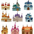 Cartoon Fairy tale castle icon - Stock Vector
