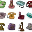 Stock Vector: Funny retro cartoon phone icon set