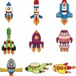 Cartoon spaceship icon set — Stock Vector
