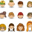 Cartoon young face icon — ストックベクタ