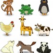 Cartoon animal icons set — Stock Vector