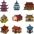 Cartoon Chinese house icon set — Stock Vector #8289992