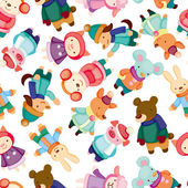 Cartoon winter animal seamless pattern — Stock Vector