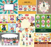 Cartoon winter animal card — Stock Vector