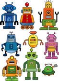 Cartoon robot icon set — Stock Vector