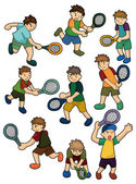 Cartoon Tennis Players icon — Stock Vector