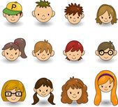 Cartoon young face icon — Stock Vector