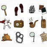 Cartoon detective equipment icon set — Stock Vector