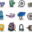 Cartoon bicycle equipment icon set - Vektorgrafik