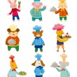 Cartoon animal chef icons - Stockvectorbeeld