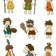 Royalty-Free Stock Vektorgrafik: Cartoon Caveman icon set,vector