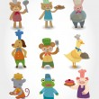 Cartoon animal chef icons set - Stockvectorbeeld