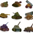 Cartoon Tank Cannon Weapon set icon - Stockvectorbeeld