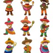 Cartoon Mexican icon set - Stockvectorbeeld