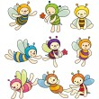 Cartoon bee boy icon set - Stockvectorbeeld