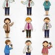 Set of funny cartoon office worker talk with Microphone and speaker — Stock Vector
