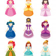 Stock Vector: Cartoon beautiful princess icons set