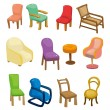 Cartoon chair furniture icon set — Stock Vector
