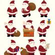 Cartoon santa claus Christmas icon set — Stock Vector