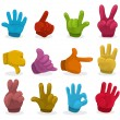 Cartoon color Hands collection ,vector - Stockvectorbeeld