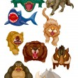 Cartoon angry animal icons - Stockvectorbeeld