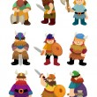 Cartoon Viking Pirate icon set - Stock Vector