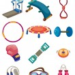 Stok Vektör: Cartoon Fitness Equipment icons