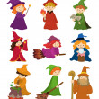 Stock Vector: Cartoon Wizard and Witch icon set