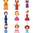 Cartoon Medieval beautiful girls. — Stock Vector