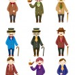 Cartoon retro gentleman icon - Stockvectorbeeld