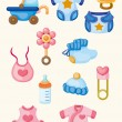 Cartoon baby good icon set - Stockvectorbeeld
