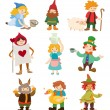 Cartoon story icons - Stock Vector