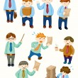 Cartoon office workers icons — Stock Vector