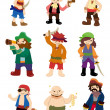 Cartoon pirate icon set - Stock Vector