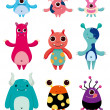 Stock Vector: Cartoon monster icons