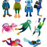 Cartoon diver icons — Stock Vector #8290593